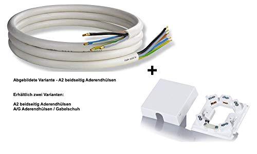 Herdanschlussleitung und Herdanschlussdose 5G, 5 Ader/Klemmen, Aderquerschnitt 1,5 und 2,5 mm², weiß (A/G Aderendhülse/Gabelschuh, 2,5mm² / 2,0m)