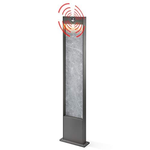Moderne LED Sensor Wegeleuchte Lichtfarbe warmweiß 3000K, Leistung 15 Watt 800 lm, Einstellbarer Bewegungsmelder max. 10m Reichweite, (BxTxH): 18x4,5x100cm, Pollerleuchte Außenleuchte esotec 201182