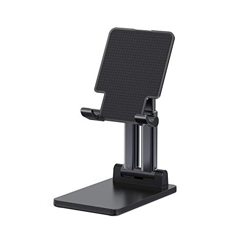 Tablet Stand, Phinistec Foldable Tablet Holder Dock for Desk, Adjustable Desktop Phone Stand Compatible with iPad Pro 9.7, 10.5, 12.9 Air Mini 4 3/Phones/Kindle/Tablet/Nintendo Switch/E-Reader(Black)