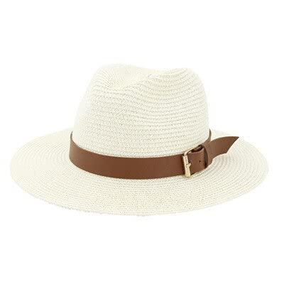 Verano de las mujeres sombreros de ala ancha banda sólida hebilla de cinturón casual al aire libre sombreros de paja panamá vintage verano primavera formal mujeres sombrero de paja