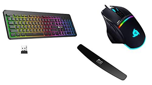 KLIM Light V2 Wireless Keyboard US Layout + KLIM Skill High Precision Gaming Mouse USB - Adjustable DPI + KLIM Keyboard Wrist Rest - 2021 Version – Premium Quality - Anti-tendonitis