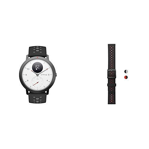 Withings Steel HR Sport - Multisport Hybrid Smartwatch & Erwachsene Silikonarmband, Bicolore Schwarz & Sport Schnalle, 20 mm