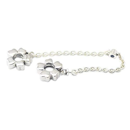 LILANG Pulsera de joyería Pandora 925, se Adapta a la Cadena de Seguridad de la Pradera de Flores Silvestres, abalorio de Plata esterlina para Mujeres, Regalos DIY
