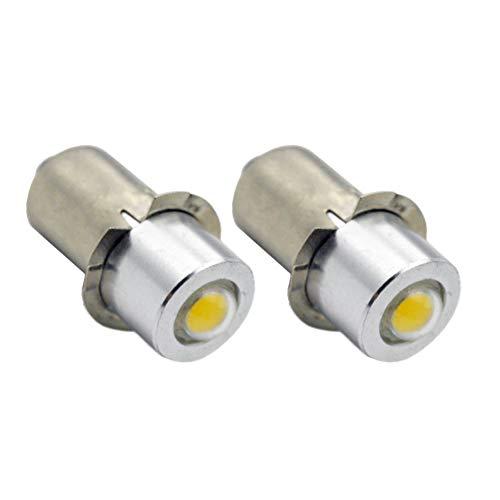 Ruiandsion 2pcs P13.5S Flashlight LED Bulbs 3-18V 1W 6000K White 200LM COB LED Bulb for Torchlight Flashlight Torch Headlight,Negative Earth