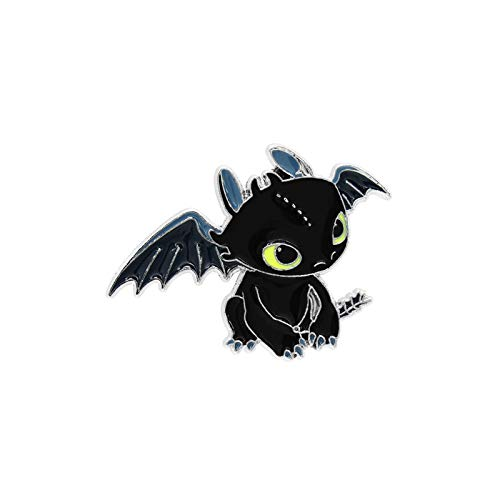 MINGZE Come addestrare Il Tuo Drago Spilla, Il Tuo Logo Senza Denti Night Fury, la Decorazione dei Gioielli Distintivo, How to Train Your Dragon (Toothless01)