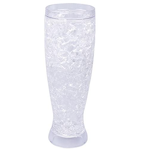 YFQX, Copas de Vino, Gafas de Cerveza, Gafas de Cerveza congele al anfitrión, congelador de Gel Enfriador de Doble Pared de plástico congelado con congelado, Conjunto de 2
