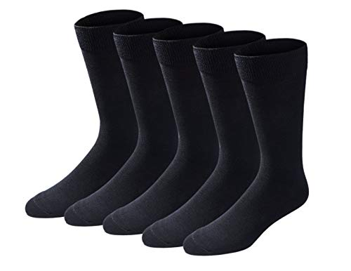 Dockers Men's Classics Dress Flat Knit Crew Socks MultiPairs, Black (5 Pairs), Shoe Size: 6-12
