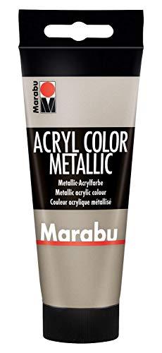 Marabu 12010050748 - Acryl Color metallic taupe 100 ml, cremige Acrylfarbe auf Wasserbasis, schnell trocknend, lichtecht, wasserfest, zum Auftragen mit Pinsel und Schwamm auf Leinwand, Papier und Holz