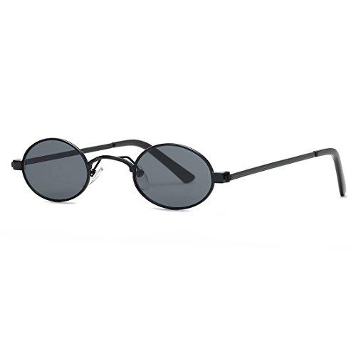 kimorn Gafas De Sol Para Mujer Pequeño Redondas metal Marco Ovaladas Unisex Anteojos K0577 (Negro)
