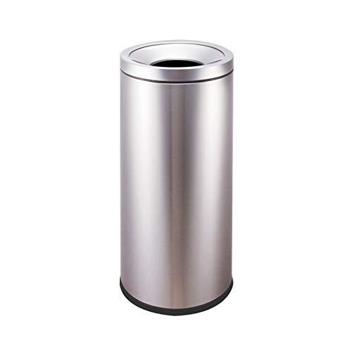Bote de basura al aire libre Papelera de basura de acero inoxidable con forma de barril redonda / basura interior sin cubierta Capacidad creativa de basura comercial de basura, 4 colores Residuos Cont