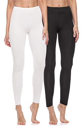 Merry Style Damen Lange Leggings aus Baumwolle 2 Pack MS10-198 (Schwarz/Weiß, M)
