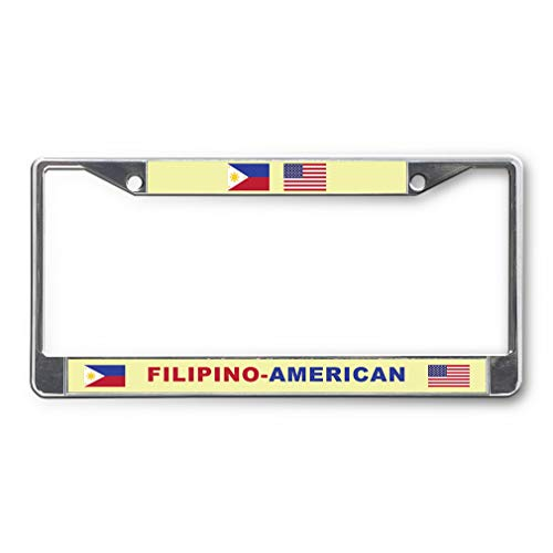 Sign Destination Metal License Plate Frame Filipino American Car Auto Tag Holder Chrome 2 Holes One Frame