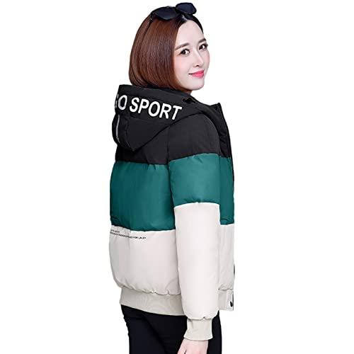 Winter Down Jackets Coats Zimowy nowy styl Casual All- Match Short Padded Płaszcz Ladies Mała wyściełana kurtka w dół luźny garniołkowy płaszcz żakiet (Color : Black green, Size : L)