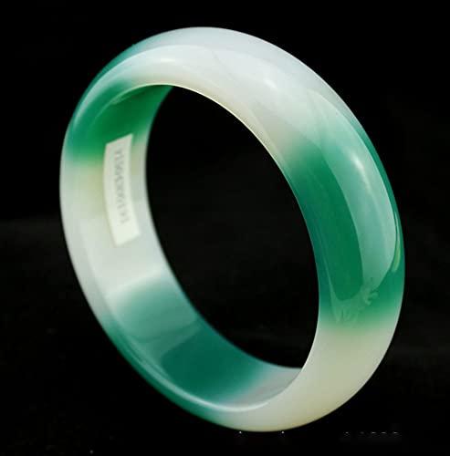 AJU Pulsera de calcedonia de Cristal de Hielo Natural, Pulsera de ágata Blanca y Verde ensanchada y Espesa, joyería de Moda, Mujer Favorita 56-62 mm