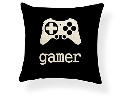 N / A Gamer Playstation Xbox Print Funda de Almohada Decorativa Ideal para Sala de Juegos Funda de Almohada de Lino y algodón Funda de cojín para sofá Cama Sofá