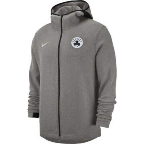 Nike New Men's Boston Celtics Dry Showtime Full-Zip Hoodie Grey Size Large