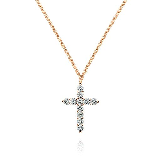 PAVOI 14K Gold Plated Cross Necklace for Women   Cross Pendant   Gold Necklaces for Women