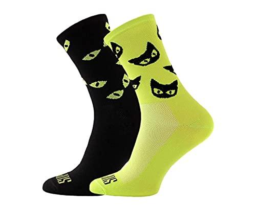 Support Calcetines de ciclismo para hombre, tecnología transpirable de fibra antideslizante, unisex, divertidos patrones de ciclista, gatos salvajes, 8-9 UK / 42-44 EU
