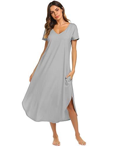 Ekouaer Women Nightgwons Short Sleeve Nightwear Long Casual Sleepwear Robe (Misty Grey,S)