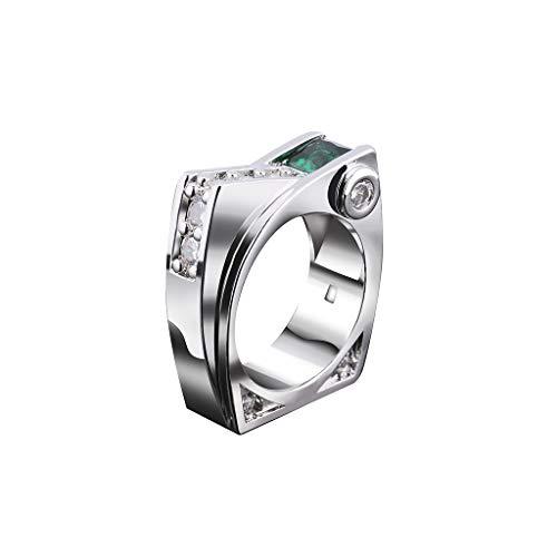 Goddesslili Diamond Rings for Women, Unique Design Square Emerald Geometric Square Zircon Jewelry Vintage Retro Wedding Engagement Anniversary Luxury Gift