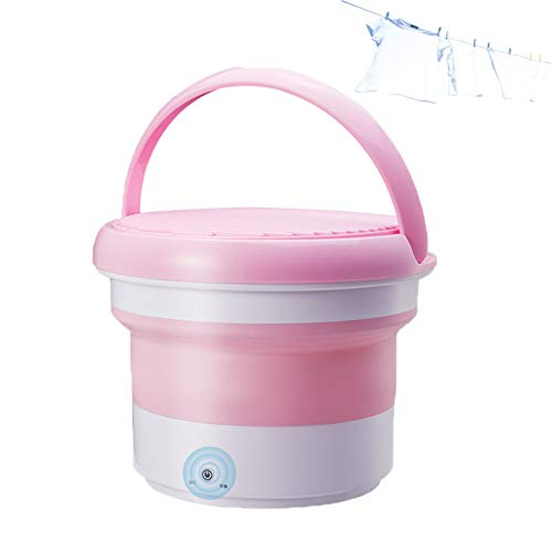 EnweKapu Mini Washing Machine, Folding Laundry Tub Ozone Sterilization Efficient Cleaning Touch Control, Ultrasonic Washing Machine for Dorm Room Business Trip Travel,Pink
