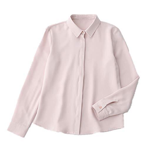 NOBRAND Primavera Nueva Camiseta de manga larga de gasa Rosa rosa XL