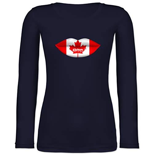 Shirtracer Länder - Lippen Bodypaint Kanada - XL - Marineblau - Kuss - BCTW071 - Langarmshirt Damen