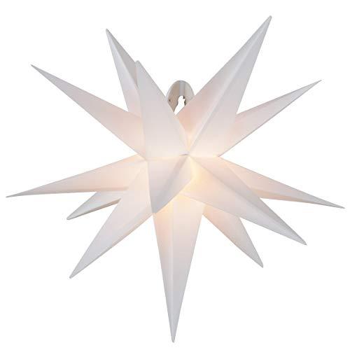 LED Adventsstern für außen 55cm Komplettset Gartenstern 3D- Weihnachtsstern Außenstern Faltstern weiß
