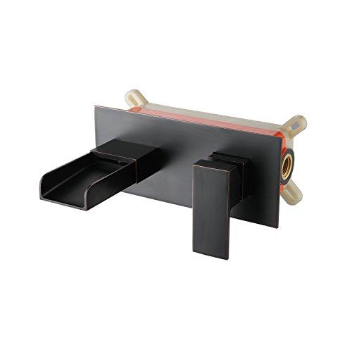 Einhebel-Waschtischmischer XY3319B Wandmontage Wasserfall-Stil, für Badezimmer, aus Messing, Schwarz