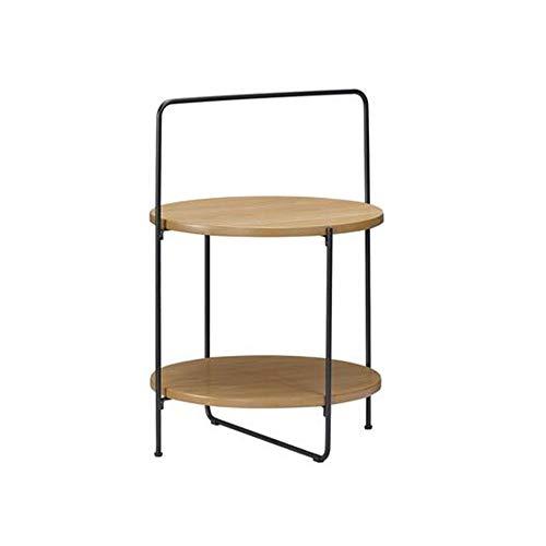 Xiaolin Art De Fer Table Basse 2 Couches Table De Thé Bois Support Console De Bureau/Canapé pour Ordinateur Portable 17,7 X 26,7 Pouces (Couleur : Couleur du Bois)