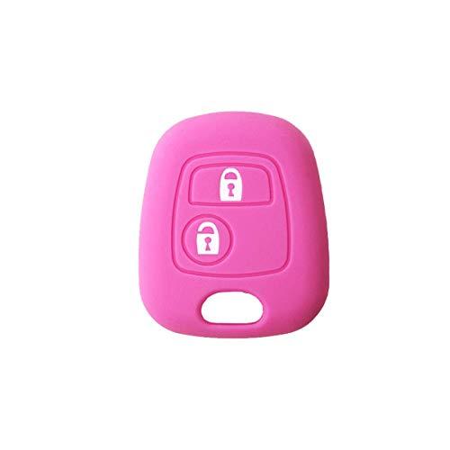 Coque de Silicone Cover clé pour télécommande Citroën C1 C2 C3 C5 et Peugeot 103 106 107 206 207 307 308 406 407 508 806 1007-2 Boutons (Rose)