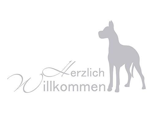 GrazDesign 980037 raamtattoo belettering hartelijk welkom met hond | raamfolie voor hal - Glastattoo ingangsdeur