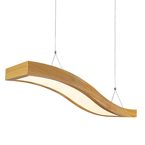 EYLM LED hanglamp hout hanglamp 23W hanglamp golfdesign 80cm bureaulamp in hoogte verstelbaar 1m hanglamp voor kantoor eetkamer eettafel