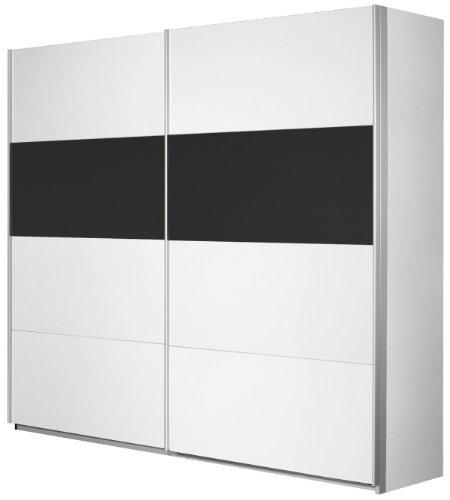 Rauch Schwebetürenschrank Weiß Alpin 2-türig , Glas Absetzung Schwarz, BxHxT 136x210x62cm