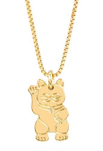 Malaika Raiss Damen Halskette Gold Maneni Neko Anhängerkette Winkekatze Glücksbringer Messing 24 k Vergoldet - MAR-N31110g
