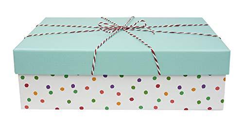 Emartbuy Starrer Luxus Rechteckige Präsentations-Geschenkbox, 33 cm x 24,5 cm x 11 cm, Weiße Punkte Box mit Blauem Deckel, Gestreiftes Band und Gedrucktes Interieur