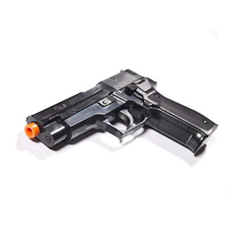 Replica stabile della Sig Sauer P226. Plastica ABS resistente agli urti. Scala 1/1 di produzione con licenza. Capacità caricatore: circa 12 colpi. Energia di movimento max. : 0,5 Joule.