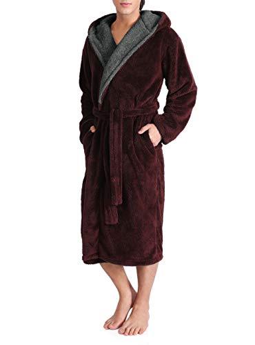 DAVID ARCHY Men's Hooded Fleece Plush Soft Shu Velveteen Robe