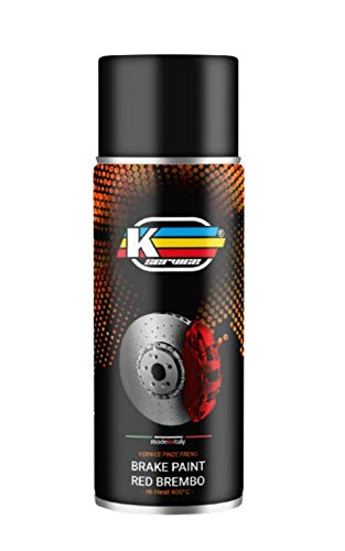 K Service Vernice pinze Freni Rosso, bomboletta Spray Rimovibile per Metallo, Vernice Resistente alle Alte Temperature, Spray Trasparente 1k, Copri pinze Freni Auto