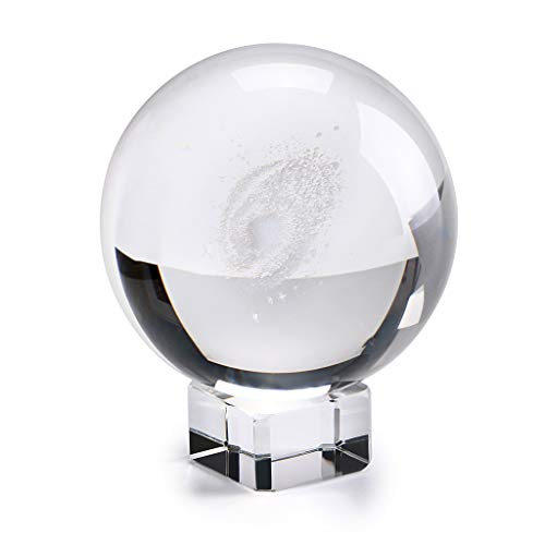 IGNPION Galaxy K9 Crystal Ball Glass Sphere Display Globe Paperweight Healing Meditation Ball with Clear Stand for Creative Gift Home Ornaments(60MM/2.4')