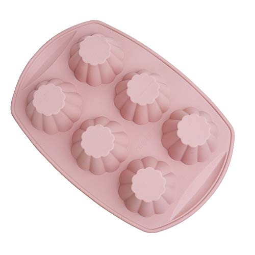 WOVELOT Silikonowe formy do ciasta tortu 6 kubków nieprzywierająca odporna na wysoką temperaturę bezpieczna quiche forma do pieczenia tortów tortowych muffinek -różowa
