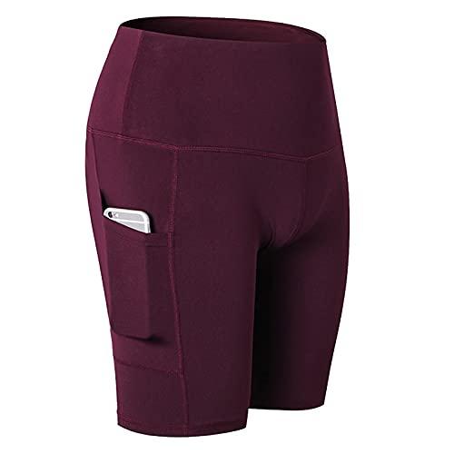 Huntrly Pantalones Cortos para Mujer, Cintura Alta, Yoga, Bolsillos oblicuos, Correr, Entrenamiento, Deportes, Pantalones Cortos de Fitness elásticos Ajustados de Secado rápido S