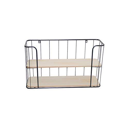 DRULINE Gewürzregal Wandregal Gewürzboard Gewürzständer Küchenregal Hängeregal großes Regal aus Holz und Metall zum aufhänge oder hinstellen mit 2 Etagen | L x B x H 60 x 20 x 35 cm | Schwarz
