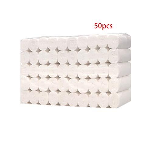 Tvvudwxx 4-lagiges Toilettenpapier, weiches Papierhandtuch, natürliches Zellstoff, verdicktes Toilettenpapier für Zuhause, Küche, Hotel, 10/50/100 Rollen 50