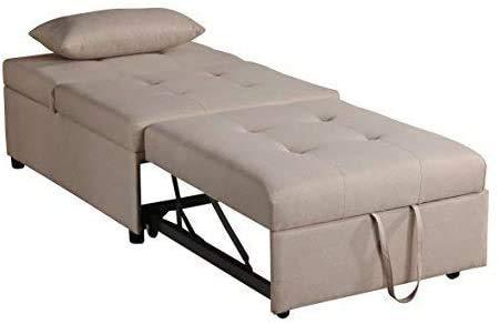 Sillón relajante y silla de salón Sillón multiusos con cama respaldado,Beige