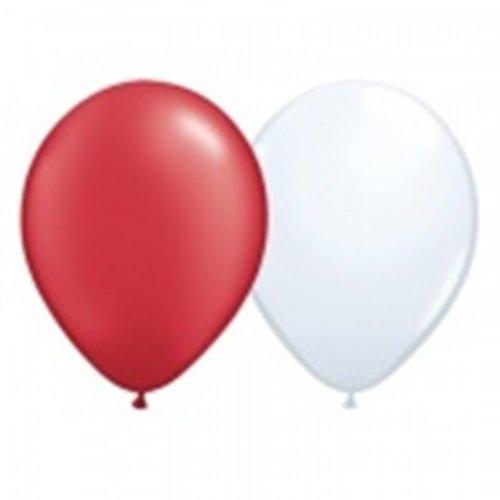 DeCoArt... Set Deko Dänemark Kanada Österreich Polen Schweiz Türkei 30 Luftballons je 15x rot und weiß ca 28 cm, 30 Ballonverschlüsse BV10 weiß und EIN Aufblasventil sowie Infoblatt