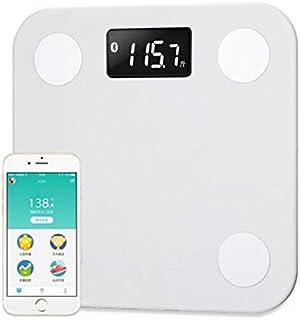 Báscula de color blanco para el hogar, con Bluetooth, porcentaje de grasa corporal digital, báscula de pesaje (color: blanco)