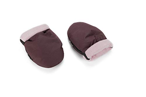 Manoplas para carro de bebé color vino con interior rosa | Guantes de protección contra el frío y lluvia| Manoplas impermeables de invierno para pasear con el bebé