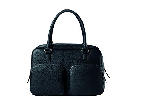 CHI CHI FAN City Bag - Schwarz | Damen Echt-Leder Handtasche aus genarbtem Rindsleder von Hamburger Designer-Label | Top Qualität, Design und maximale Funktion | Für Business und Freizeit