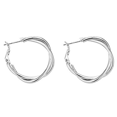 Heizung Hoop Earrings Geometric Cross Ear Studs Gold and Silver Women's Metal Ear Hoop Jewelry (Color : Silver)
